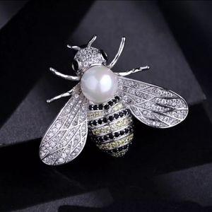 Pearl Bee Brooch Rhinestone Crystal Brooches Pin